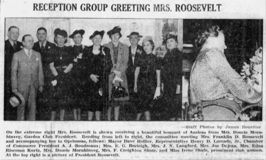 First lady Eleanor Roosevelt visits Opelousas March 8, 1939, as documented by the Opelousas Herald newspaper March 14, 1939.