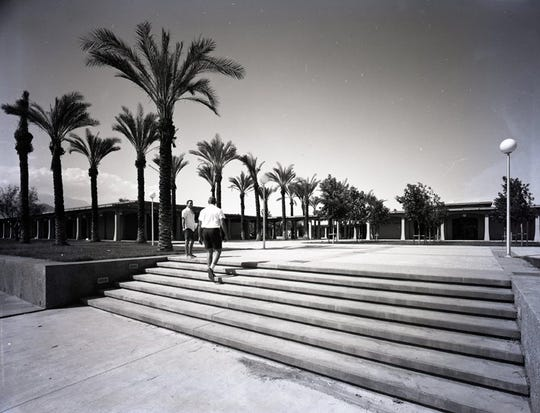 Broad steps of the new COD campus in 1963.