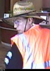 Deputies say Christopher Franco, 43, of Indio, was the man who robbed banks on Friday, June 14, 2019, and Monday, June 17, 2019. Both banks were in Palm Desert. In this image, a man is seen robbing the Rabobank Bank on Cook Street.