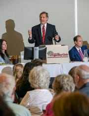 Mike Papantonio, senior partner with the law firm of Levin Papantonio, talks about his efforts to hold opioid manufacturers accountable for deaths and overdoses during the Panhandle Tiger Bay Club luncheon at New World Landing in Pensacola on June 21.