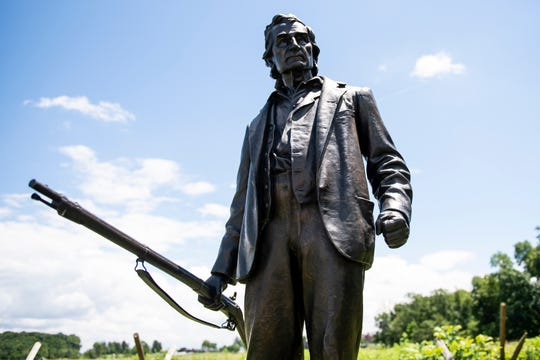 A monument to 69-year-old Gettysburg resident John Burns.