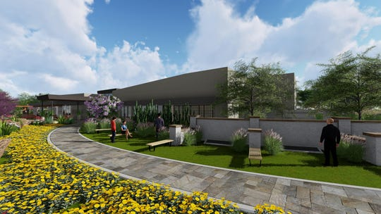 An artist's rendering of the final design for the upcoming Gilbert Memorial Park cemetery and funeral home, set to open late summer 2019.