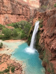 The trail from Supai to the campground offers this dramatic reveal of Havasu Falls.