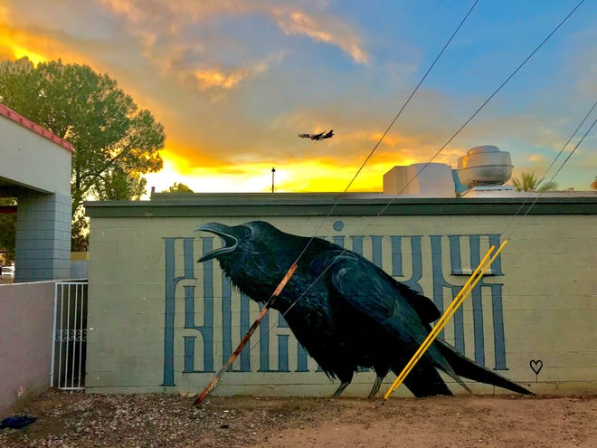 """Nate Benington, whose street artist name is """"Sour,"""" painted this mural on the back of Tracy Dempsey Originals on University Drive in Tempe."""