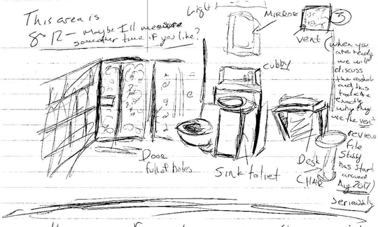 Charlene Schwickrath's son included a drawing of his current cell in the Eyman SMU II unit. In the letter he said that he does not have anybody to see and does not see sunlight.