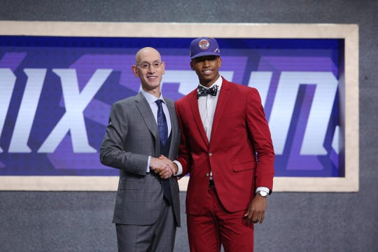 Texas Tech guard Jarrett Culver greets NBA Commissioner Adam Silver after being selected as the No. 6 overall pick by the Phoenix Suns. Actually, no he's going to the Minnesota Timberwolves.