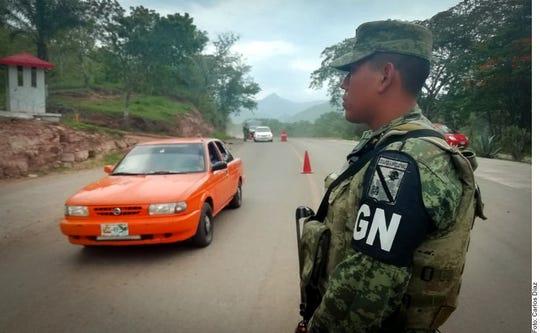 La Guardia Nacional vigila la frontera sur de México.