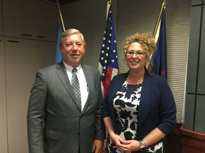 Tri-Hospital EMS President Ken Cummings and Fort Gratiot Supervisor Jorja Baldwin after Baldwin was selected to fill a vacancy on the St. Clair County Board of Commissioners on Thursday, June 20, 2019.