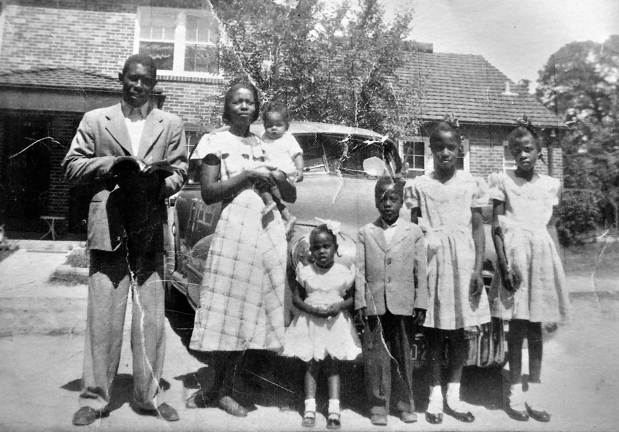 A 1953 photograph of Lillie Belle Allen's family, from left to right, father Rev. James, mother Beatrice, holding Wayne, 1, sister Secina, 4, brother Henry, 6, Lillie Belle, 12, and Jennie, 10. Another sister, Hattie, not pictured because she went to the bathroom. Lillie Belle, at 27, would be shot and killed during the York Riots on July 21, 1969 while visiting family in York. Dawn J. Sagert photo
