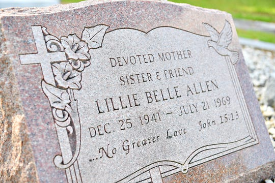The tombstone of Lillie Belle Allen at Pine Lawn Cemetery in Aiken, S.C., Friday, May 3, 2019. Allen, visiting family in York, was shot and killed during the York Riots on July 21, 1969. Dawn J. Sagert photo