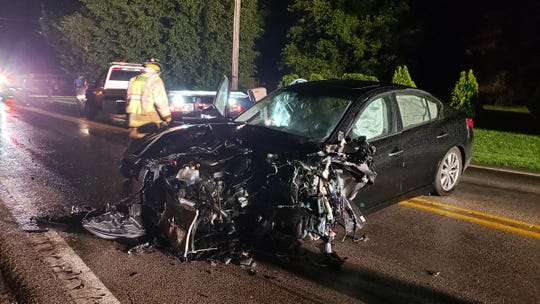 Heavy front-end damage and injuries reported after a two-vehicle crash in Manchester Township.
