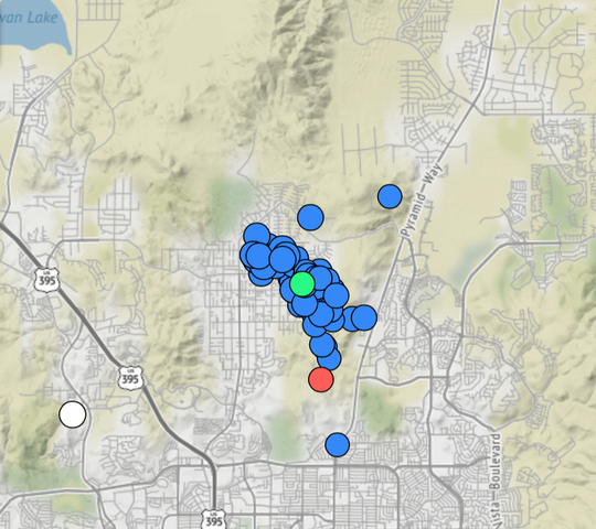 A June 21 screen grab of the Nevada Seismological Lab's real-time earthquake tracker showing an earthquake swarm underneath Sun Valley.