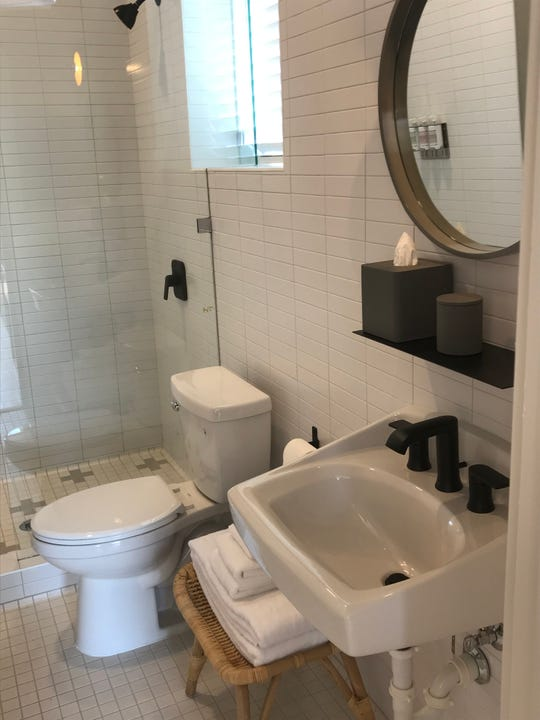 A bathroom in one of the six guest rooms in the new Jesse Hotel & Bar, a boutique property just east of downtown Reno.