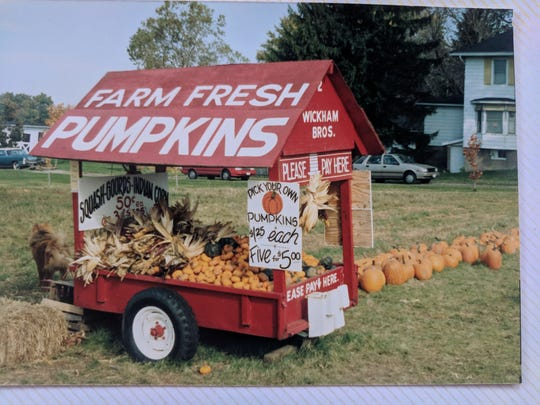 File photo of Wickham Farms' roadside pumpkin stand on Route 250 in Penfield in the mid-80s.