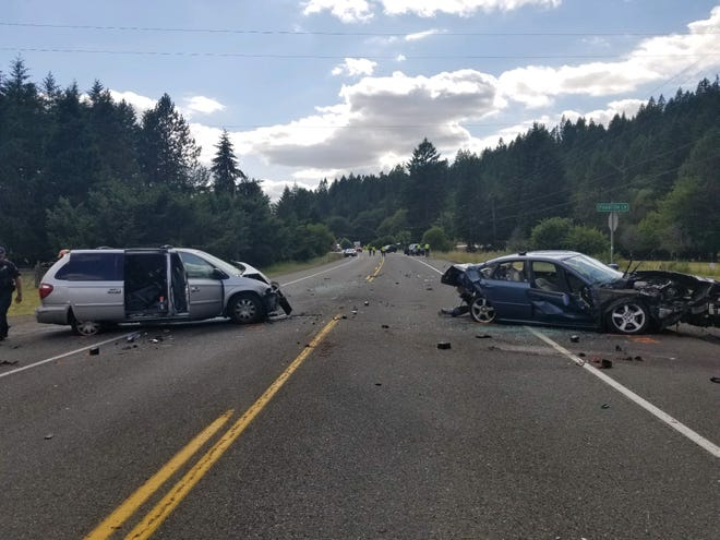 A three-car collision closed Highway 22 west of Mehama on Friday.