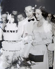 Leah and Arthur Winter cut the cake on June 21, 1949. The Salinas couple celebrated their 70th wedding anniversary June 21, 2019.