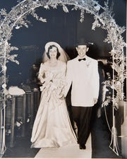 Leah and Arthur Winter walk down the aisle on June 21, 1949. The Salinas couple celebrated their 70th wedding anniversary June 21, 2019.