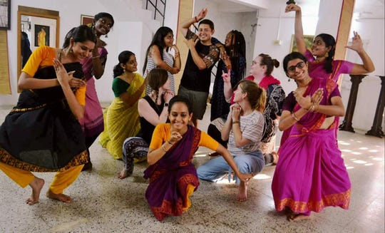 Hardin Simmons students participate in a traditional Bharatanatyam dance in  Tamil Nadu, India, during an abroad learning trip.