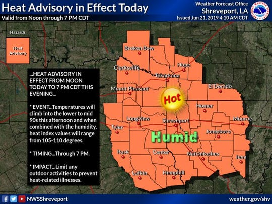 Temperatures will climb into the lower to mid 90s this afternoon and when combined with the humidity, heat index values will range from 105-110 degrees. Limit any outdoor activities to prevent heat-related illnesses.