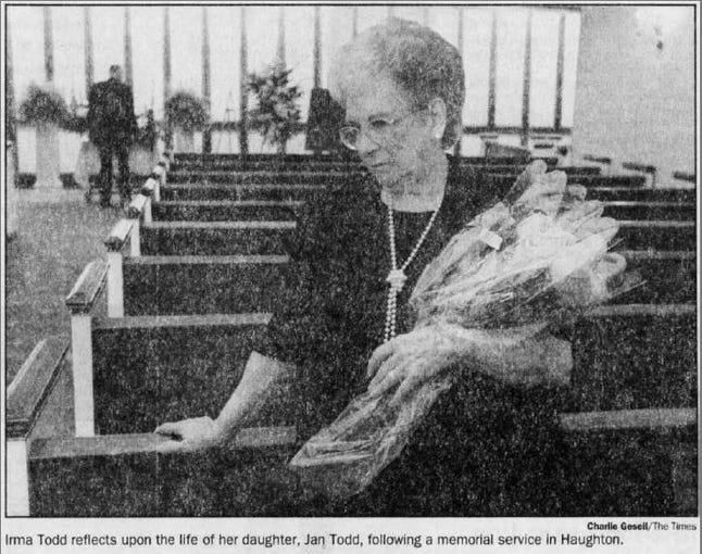 Irma Todd reflects upon the life of her daughter, Jan Todd.