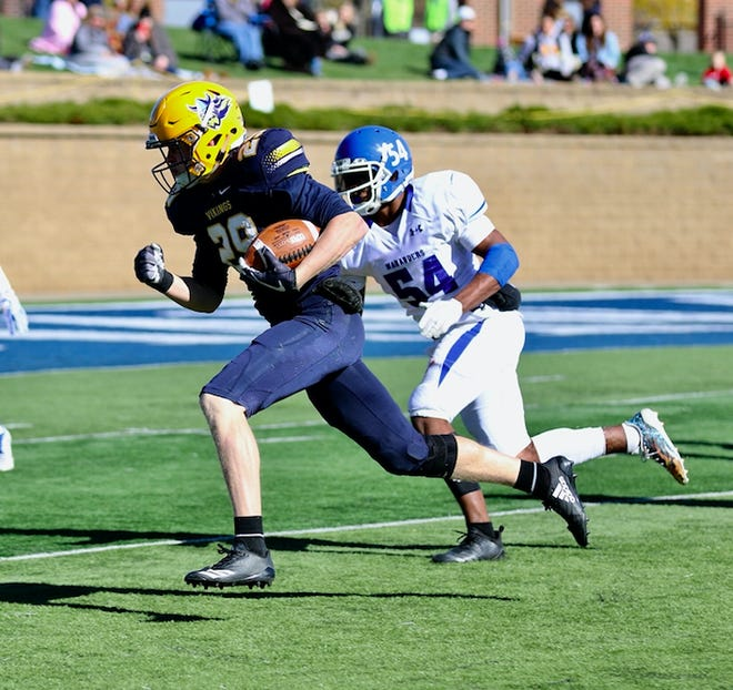 Braiden Petersen rushes against the University of Mary at Kirkeby-Over Stadium on Oct. 20, 2019.