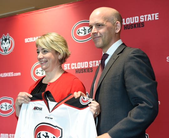 St. Cloud State University Athletics Director Heather Weems introduces Steve Macdonald as the new head coach of the Huskies women's hockey team, Friday, June 21 at the Herb Brooks National Hockey Center.