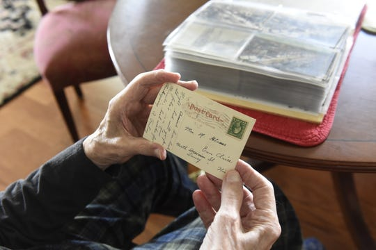 Messages scribbled on a postcard in Harold Zosel's collection as seen on Thursday, May 20.