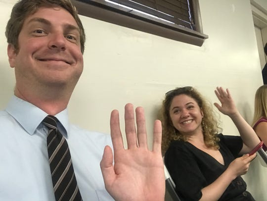 Tallahassee Democrat local government reporter Karl Etters and Alina Fooks, a visiting journalist from Moscow in the International Center for Journalists program, attend the June 2019 Tallahassee City Commission meeting.