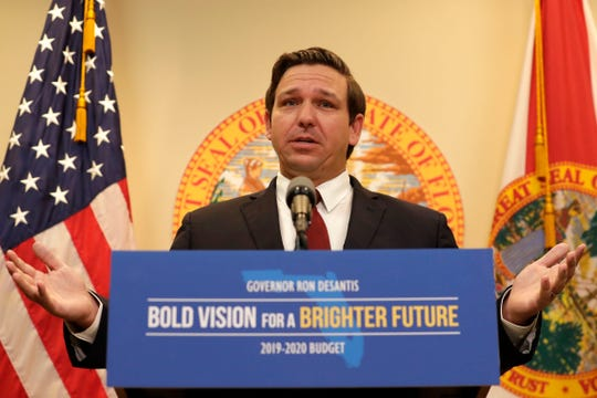 Gov. Ron DeSantis hosts a press conference to share the budget he has approved as well as the projects he vetoed Friday, June 21, 2019.