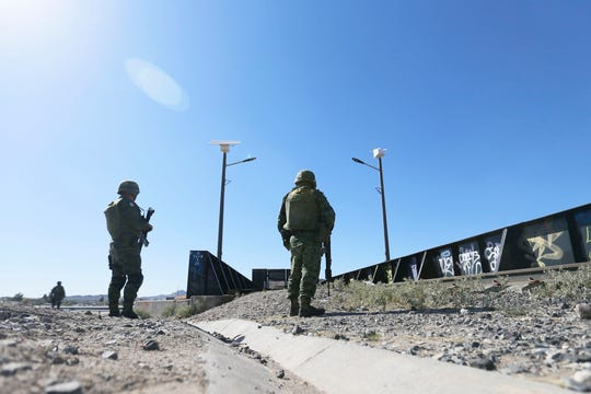 The Mexican Army, Mexican National Guard, Mexican Federal Police and the Chihuahua State Police begin enforcing immigration in Mexico after President Donald Trump threatened tariffs on Mexican exports to the United States Thursday, June 20, in El Paso.