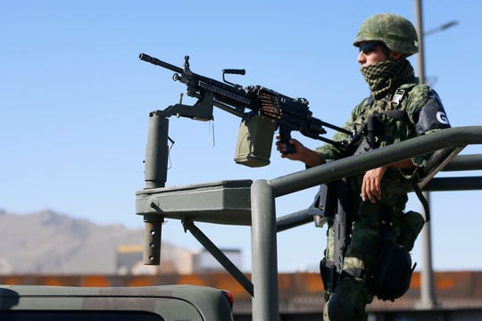 The Mexican army, Mexican National Guard, Mexican Federal Police and the Chihuahua State Police enforce an immigration crackdown in Juárez, Mexico, after President Donald Trump threatened tariffs on Mexican exports to the United States on Thursday, June 20, 2019.