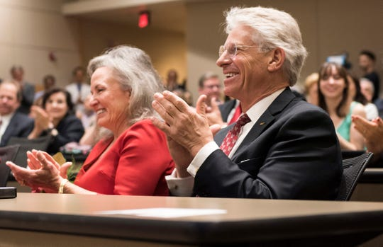 WestStar Bank CEO Rick Francis and his wife Ginger at a June 11 event honoring them for donating $3 million to Texas Tech University Health Sciences Center El Paso to endow four deanships.
