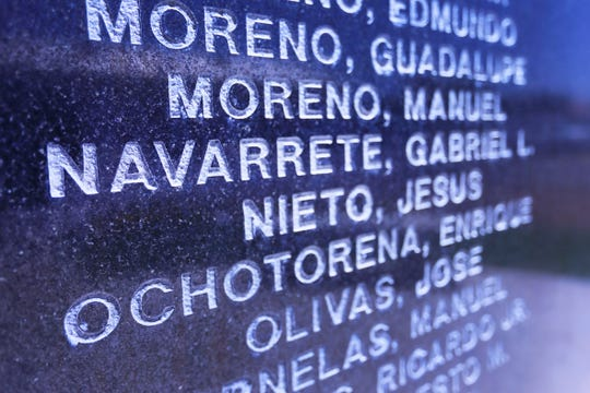 Gabriel L. Navarrete's name is shown Thursday, June 20, 2019, on a monument at the World War II Veterans of Company E Park at 4321 Delta Drive in El Paso. A school in the EPISD will be named in his honor.