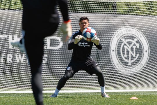 Luis Barraza faces a shot at a recent New York City FC training session