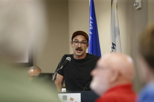Ben Lee makes a speech during the Marathon County Board meeting whether to declare June as Pride Month Thursday, June 20, 2019, at the Marathon County Courthouse in Wausau, Wis.