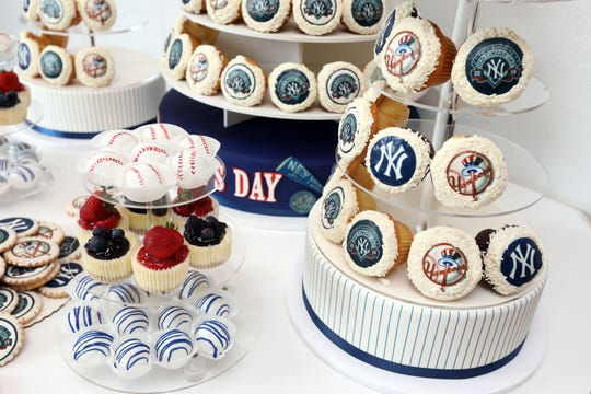 Cupcakes for the Yankees Old-Timers party at Homestyle Desserts Bakery in Peekskill June 21, 2019. The bakery has been making the cakes for the Old Timers Game celebration for the past decade.