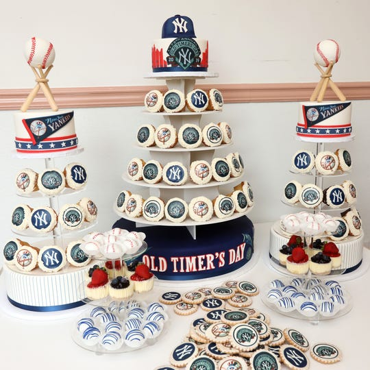 The cupcake display for the Yankees Old-Timers party at Homestyle Desserts Bakery in Peekskill June 21, 2019. The bakery has been making the cakes for the Old Timers Game celebration for the past decade.