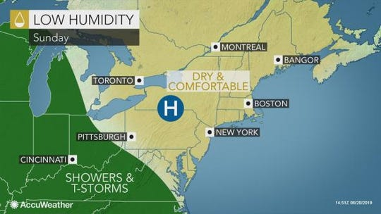 Sunday should be sunny and seasonable in the Lower Hudson Valley.