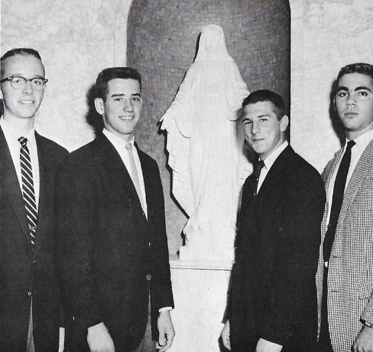 A photo Joe Biden (second from left) during his senior year of high school. While at Archmere Academy, he was junior and senior class president.