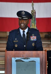 Col. Kenyon Bell speaks about his training in aircraft maintenance at Sheppard Air Force Base in the 1990s and assumed command of the 82nd Training Wing during the change of command ceremony Friday.