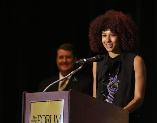 Taliyah Brooks is inducted into the inaugural class of the Nexstar Sports Hall of Fame Thursday, June 20, 2019, in The Forum.