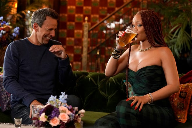 """Late Night "" host Seth Meyers and singer Rihanna took to the bar for ""Seth and Rihanna Go Day Drinking"" on June 20."