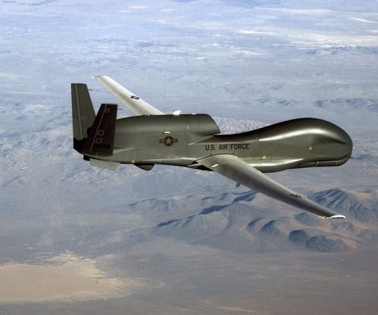 This undated U.S. Air Force file photo released on June 20, 2019 shows a photo of a RQ-4 Global Hawk unmanned surveillance and reconnaissance aircraft.