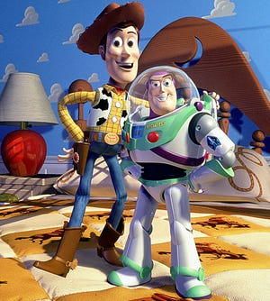 "Woody and Buzz, the two adventure pals of the ""Toy Story"" movies."