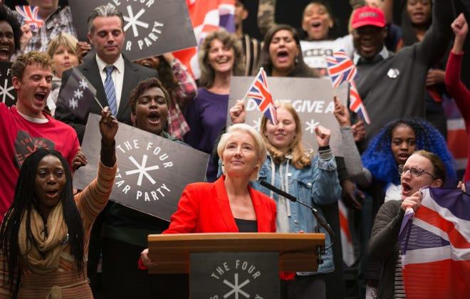 Emma Thompson, front center, plays Vivienne Rook, a celebrity businesswoman who gains a political following with her controversial, divisive views in HBO's 'Years and Years.'
