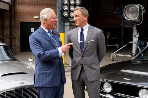 Prince Charles meets British actor Daniel Craig as he tours the set of the 25th James Bond Film at Pinewood Studios on June 20, 2019 in England.