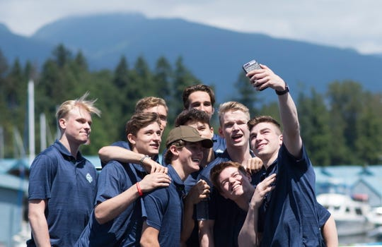 NHL prospects pose for a selfie in downtown Vancouver.