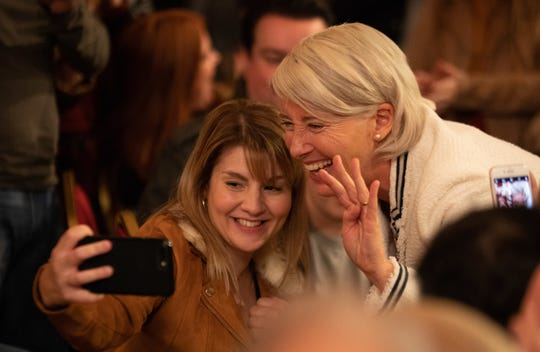 Rosie Lyons (Ruth Madeley), left, takes a selfie with Vivienne Rook (Emma Thompson) in HBO's 'Years and Years.'