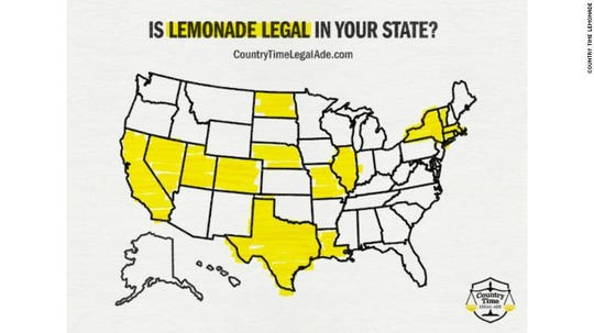 A map of states where it's legal or operate an unlicensed lemonade stand, according to Country Time.