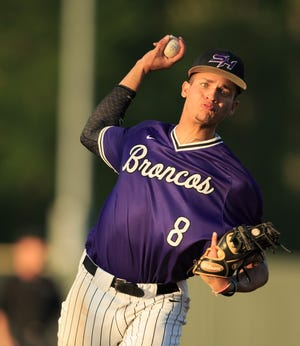 Sam Houston's Cameron Meeks pitches against Parkway during the LHSAA Baseball State Tournament Class 5A semi-final at McMurray Park in Sulphur, Louisiana on Sunday, May 12, 2019. (AP Photo/Lake Charles American Press, Kirk Meche)